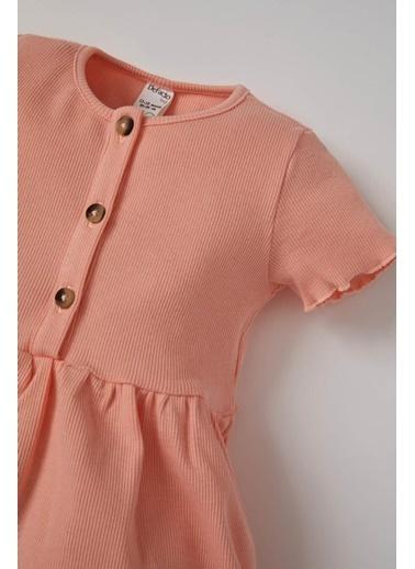 DeFacto Kız Bebek Düğme Detaylı Kısa Kol Elbise Oranj